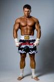 Um kickboxer experiente do lutador pronto para uma luta. foto de stock royalty free