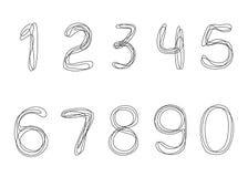 Um a lápis contínuo números do desenho de 0 a 9 ilustração stock