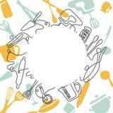 Um a l?pis conceito do desenho para um menu do restaurante Linha arte cont?nua de faca, forquilha, placa, bandeja, colher, ralado ilustração stock
