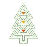Um labirinto de árvores de Natal com corações Fotos de Stock Royalty Free