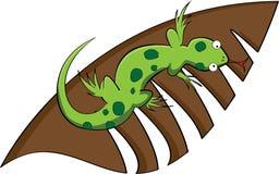 Um lagarto e uma folha Fotografia de Stock Royalty Free