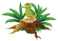 Um lagarto que está acima da madeira Fotos de Stock Royalty Free