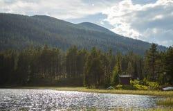 Um lago nas montanhas Imagens de Stock