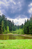 Um lago pequeno profundamente nas montanhas de Carpatian Fotos de Stock Royalty Free
