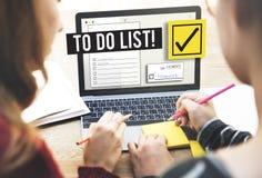 Um Listen-Zeit-Management-Anzeige zu tun geben Sie Konzeptes Lizenzfreies Stockfoto