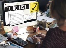 Um Listen-Zeit-Management-Anzeige zu tun geben Sie Konzeptes Stockbild