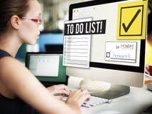 Um Listen-Zeit-Management-Anzeige zu tun geben Sie Konzeptes Lizenzfreie Stockfotografie