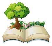 Um livro aberto com uma árvore ilustração royalty free