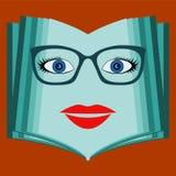 Um livro aberto com uma cara da mulher Livro de fala, biblioteca Imagem de Stock