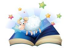 Um livro aberto com uma imagem de um carneiro ilustração stock