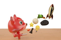 Um livro aberto da raposa dos desenhos animados e estala acima muitas coisas, ilustração 3D Fotografia de Stock