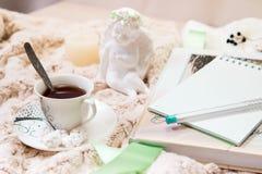 Um livro, um caderno, uma vela em um castiçal de vidro, parvarda, amendoins no açúcar, uma estatueta de um anjo feito do emplastr imagens de stock