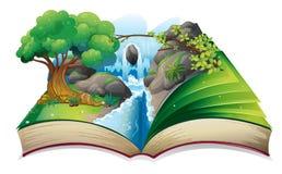 Um livro com uma imagem de uma floresta Imagem de Stock