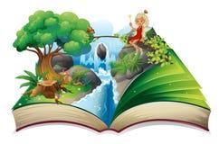 Um livro de histórias com uma imagem da natureza e de uma fada ilustração do vetor