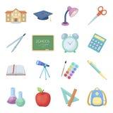 Um livro, um telescópio, uma pena, artigos para educar A escola e os ícones ajustados da coleção da educação no estilo dos desenh Fotos de Stock