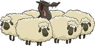 Lobo e carneiros ilustração royalty free