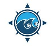 Um logotipo da onda em um compasso na cor azul ilustração royalty free