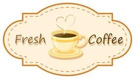 Um logotipo fresco do café com um copo do café fabricado cerveja Foto de Stock