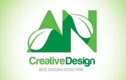 Um logotipo verde do projeto de letra da folha Ícone Illus da letra da folha de Eco bio Foto de Stock Royalty Free