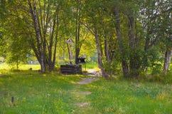 Um lugar em Alexander Park onde a cruz da memória de Grigory Rasputin Fotos de Stock Royalty Free