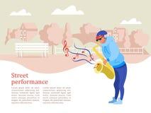 Um músico da rua, uma ilustração de Vetora do saxofonista ilustração royalty free