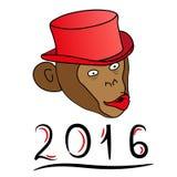Um macaco em um chapéu vermelho em um fundo branco 2016 ilustração do vetor
