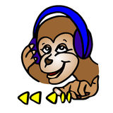 Um macaco engraçado dos desenhos animados está escutando a música em fones de ouvido ela ilustração stock