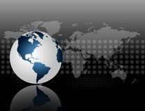 Um mapa 3d do mundo no fundo cinzento e preto com reticulações ilustração stock