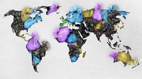 Um mapa de papel do mundo com tras Imagens de Stock