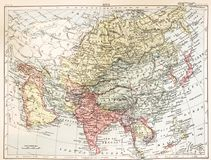 Um mapa do vintage de Ásia na cor de uma enciclopédia do livro do vintage Imagens de Stock