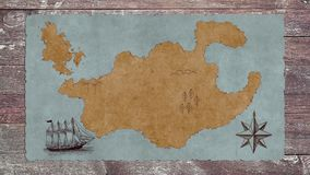 Um mapa vazio do tesouro com um barco de navigação em uma tabela de madeira ilustração royalty free