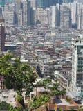 Um mar dos prédios de apartamentos ilustra uma boa imagem do Macau densamente povoado imagem de stock royalty free