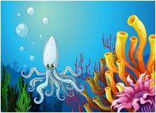 Um mar profundo com um polvo Fotos de Stock Royalty Free