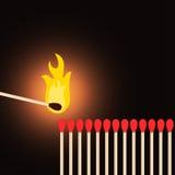 Um matchstick que leve outro Fotografia de Stock Royalty Free