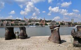 Um memorial aos judeus húngaros fotos de stock royalty free