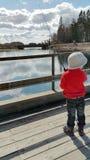 Um menino aprecia pescar Imagem de Stock