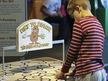 Um menino aprende sobre Potatos no museu do ` s das crianças da descoberta, L foto de stock royalty free