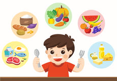 Um menino bonito com os cinco grupos de alimento Deixe o ` s obter algo comer! ilustração royalty free