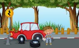 Um menino com ferramentas e um carro vermelho na estrada ilustração royalty free