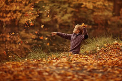 Um menino com folhas Fotos de Stock Royalty Free