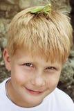 Um menino com a louva-a-deus em sua cabeça fotos de stock royalty free