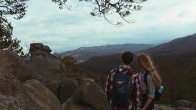 Um menino com um corte de cabelo extravagante e uma moça encantador com um cabelo longo, umas camisas coloridas quadriculado vest filme