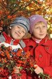 Um menino com uma menina Fotografia de Stock
