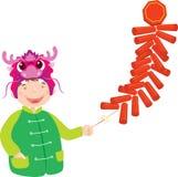 Um menino comemora o Ano Novo chinês com dragão Foto de Stock Royalty Free