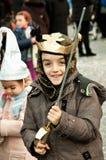 Um menino como um cruzado Imagens de Stock Royalty Free