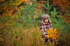 Um menino de sorriso pequeno que guarda uma cesta com as folhas de outono na floresta imagem de stock royalty free