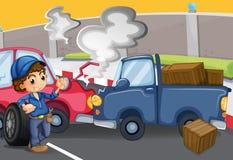 Um menino do mecânico perto da colisão dos carros ilustração stock