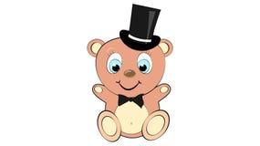 Um menino do urso bonito, bonito, marrom com uma cabeça grande em um cilindro com um laço e olhos azuis em um espaço branco do fu ilustração royalty free