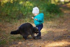 Um menino dos anos de idade com guaxinim Fotos de Stock