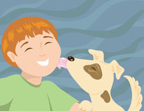 Um menino e seu cachorrinho Fotos de Stock Royalty Free
